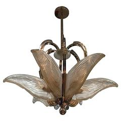 French Art Deco Chandelier with Geometric Flying Bird Motif by P. Maynadier