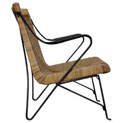 Rattan and Iron Lounge Chair by Salterini