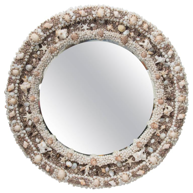 Round Mirror Decorated with Shells For Sale