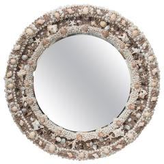 Round Mirror Decorated with Shells