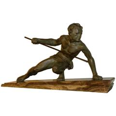 Man with Spear Sculpture Art Deco by Buchet