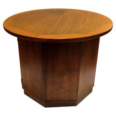 Mid-Century American Modern Hexagon Round Walnut Cocktail or Coffee Table