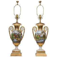 Pair of 19th Century Old Paris Lamps