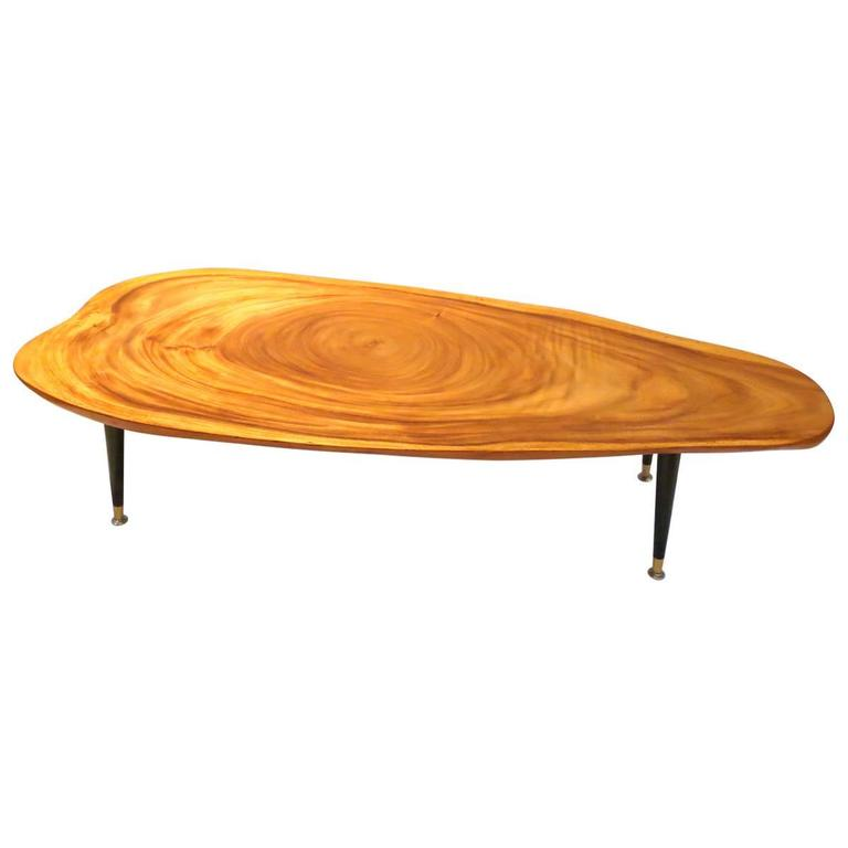 Massive Free Form Organic Coffee Table Koa Wood Top And Tapered Legs At 1stdibs