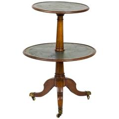 1860s French Two-Tier Round Table with Leather Top