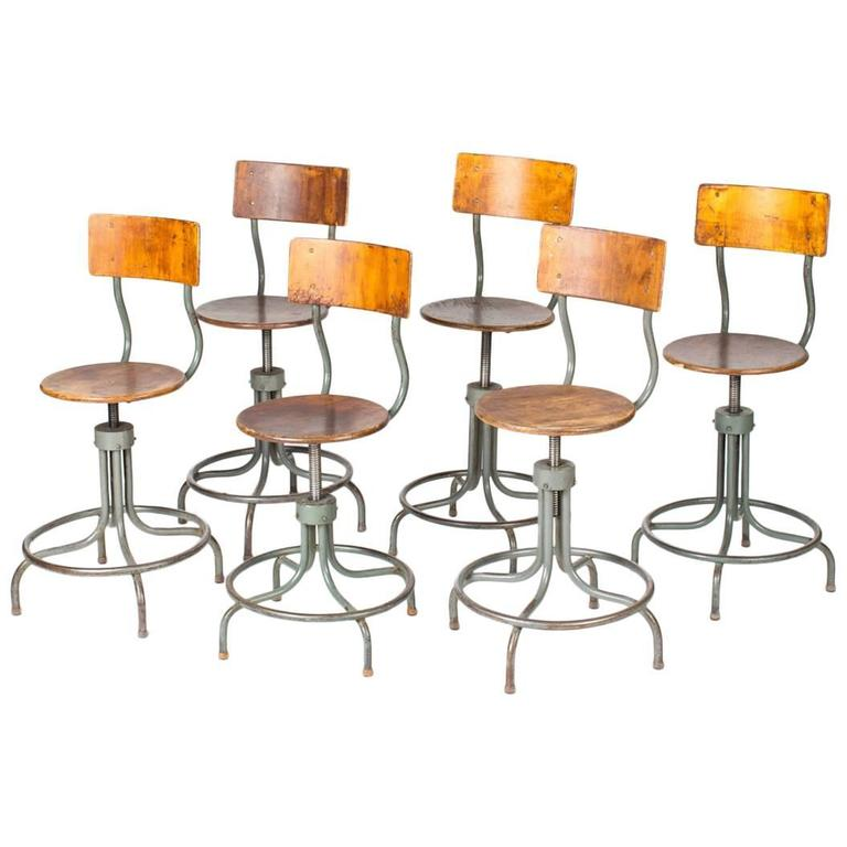 1940s French Industrial Wood and Steel Adjustable Swivel Stool