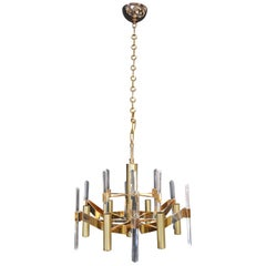 Sciolari Six-Light Gold-Plated Brass and Crystal Glass Chandelier