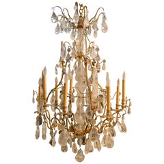 20th Century Bronze Rock Crystal Chandelier