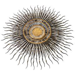 Sunburst Wall Art Made of Cut Nail and Brass Welding by Bela , 1970s