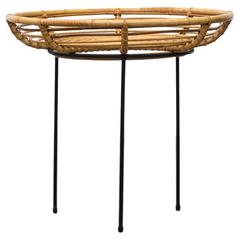 Mid-Century Bamboo Basket or Tray Side Table