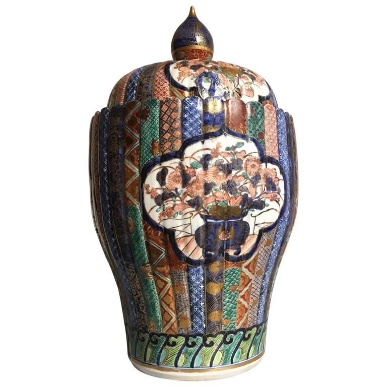 Large Imari Fluted Jar and Cover