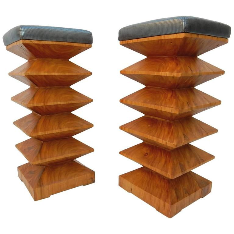 Surprising Pair Of Sculpted Art Burl Wood Zig Zag Bar Stools Circa Ncnpc Chair Design For Home Ncnpcorg