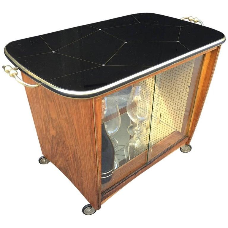 Italian Rosewood Liquor Cabinet / Bar Cart For Sale