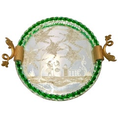 Venetian Etched Mirror and Emerald Murano Glass Rope Gilt Dolphin Handle Tray
