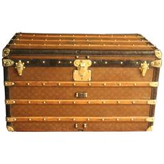 1930s Louis Vuitton Monogram Canvas and Brass Fittings Courrier Steamer Trunk