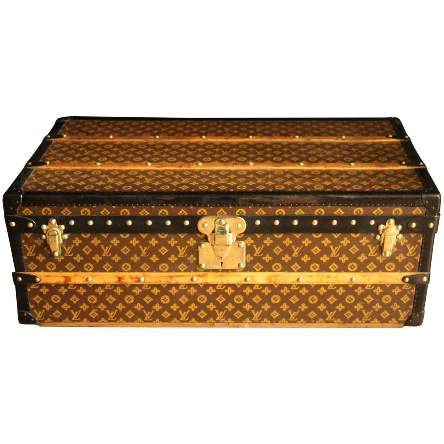 Lv Trunk Coffee Table: 1930s Louis Vuitton Stenciled Monogram Cabin Steamer Trunk