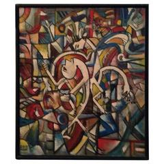 Cubist Surrealist Oil on Canvas Painting, Signed and Dated, RD 1971