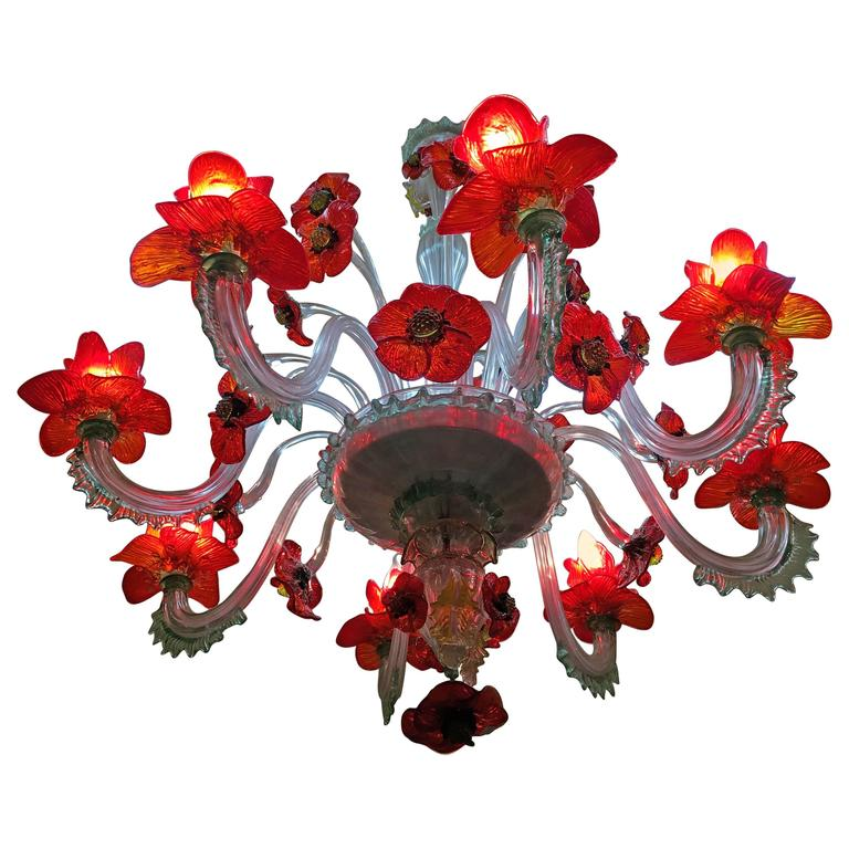 Extraordinary Murano Chandelier Poppy Flowers 1950s For Sale At 1stdibs