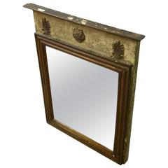 Small French Louis Philippe Trumeau Mirror with Original Paint Traces