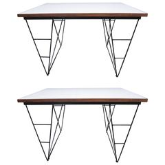 """""""Campo e Graffi"""",Pair of stratified and Iron Legs Console Tables, Italy, 1970"""