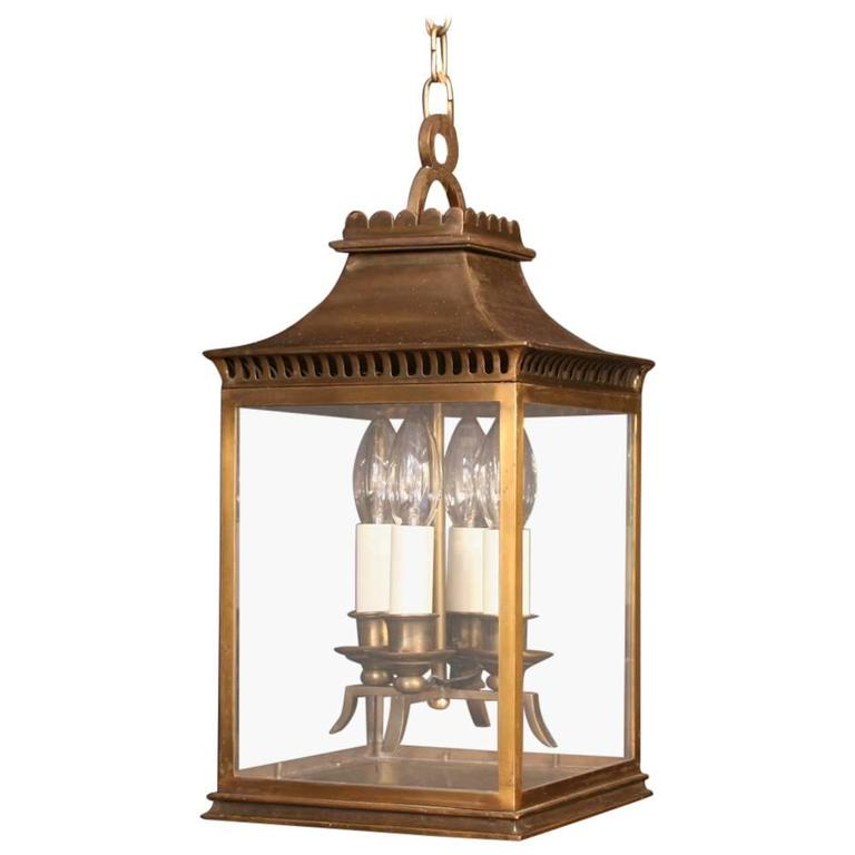 French Bronze Four-Light Antique Hall Lantern