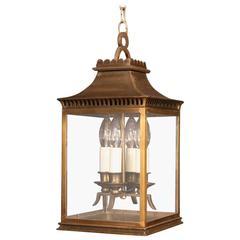 French Bronze Four-Light Antique Hall Lantern