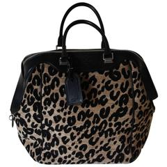 "Louis Vuitton Limited Edition ""North South"" Leopard Canvas and Black Leather Bag"
