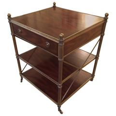 Rich Campaign Style Mahogany and Brass Side Table or Nightstand