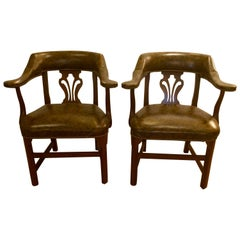 Pair of Faux Tortoise Leather Club Chairs