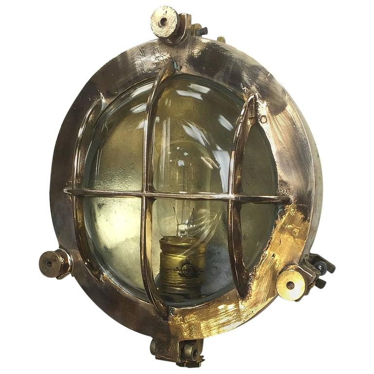 Mid-Century Circular Industrial Bronze and Brass Wall Light with Glass Dome For Sale at 1stdibs