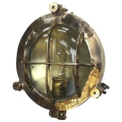 Mid-Century Circular Industrial Bronze and Brass Wall Light with Glass Dome