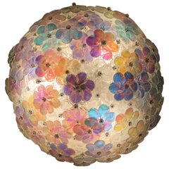 Lovely Murano Glass Floral Flush Mount Ceiling Multi-Color, 1980s