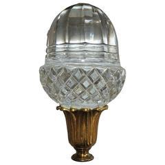 Grand Diamond Beveled Cut Crystal Gilt Doré Bronze Newell Post Banister Finial