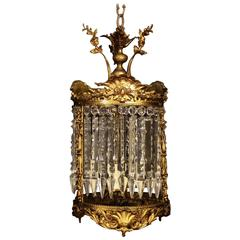 French Gilded Bronze and Crystal Antique Light