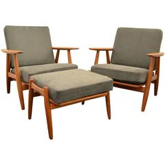 Beautiful 1960 Hans Wegner Pair of Armchair and Ottoman for GETAMA