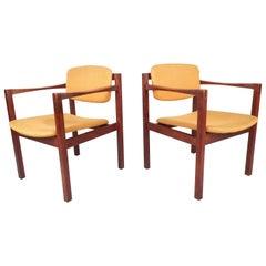 Pair of Mid-Century Modern Teak Arm Dining Chairs