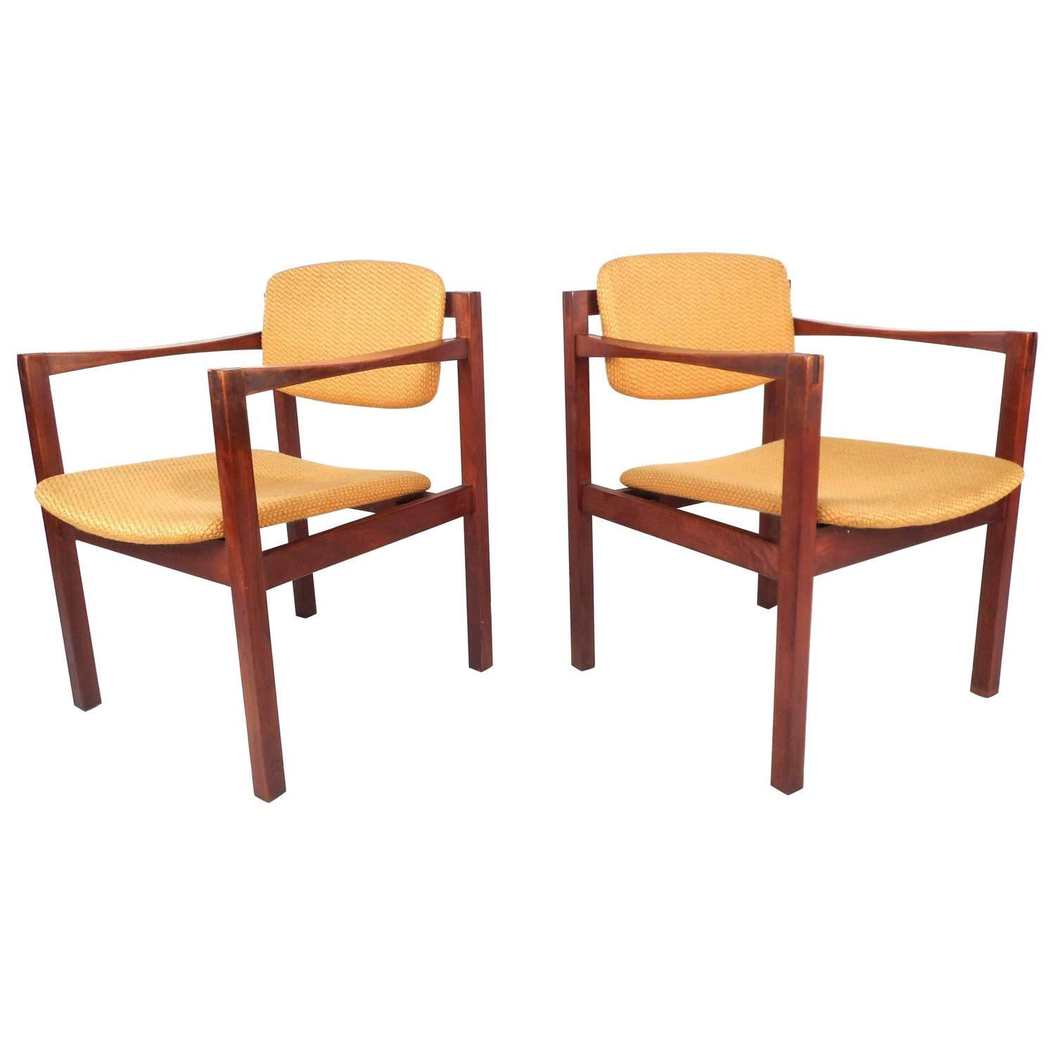 Pair Of Mid Century Modern Teak Arm Dining Chairs For Sale