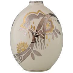 Art Deco Ceramic Vase with Flowers by Boch Freres, Belgium, 1931