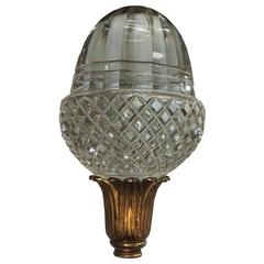 Grand Diamond Beveled Cut Crystal and Dore Bronze Newell Post Banister Finial