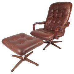 Hans Brattrud Rosewood Scandia Swivel Lounge Chair And