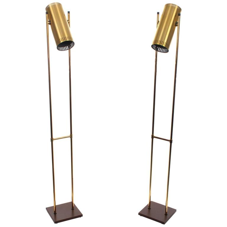 vintage floor lamp antique brass lamps with swing arm trombone pair rare light