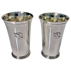 Pair of Tiffany Sterling Mint Julip Cups New York Athletic Club, circa 1937