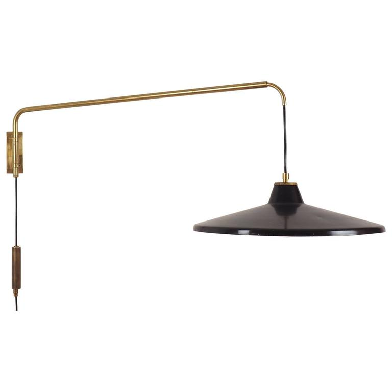 Italian Swiveling Adjustable Wall Lamp Attributed To