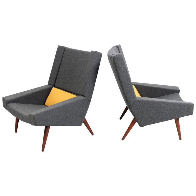 Rare Pair of Illum Wikkelsø Lounge Chairs For Sale