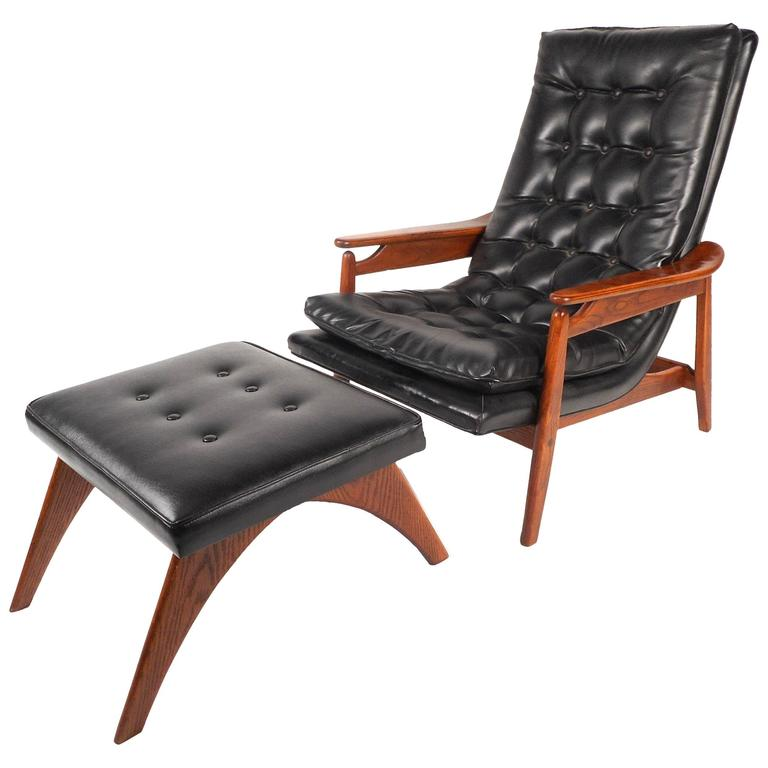 Mid Century Modern Tufted Vinyl Lounge Chair And Ottoman For