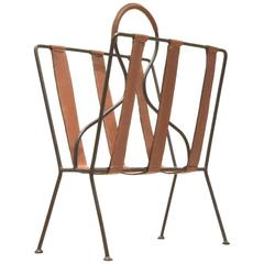 French Mid-Century Design, Jacques Adnet Brown Leather and Metal Magazine Rack