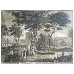 Rare Four Panel French Grisaille Wallpaper Screen, circa 1810