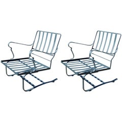 Iron Outdoor Spring Action Garden Armchairs, Pair