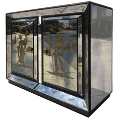 Very Unusual Mirrored Cabinet with Golden Asian Decor, USA, 1940s