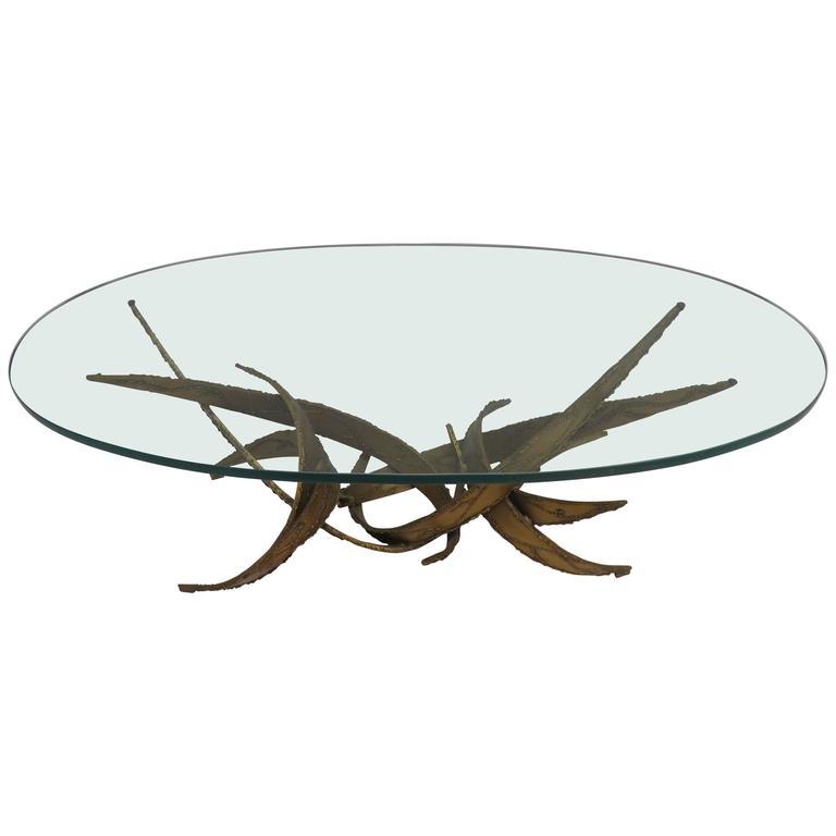 Silas Seandel Style Brutalist Torch-Cut Coffee Table, Mid-Century Modern